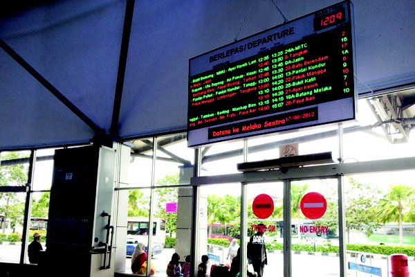 PANORAMA BUS DEPARTURE DISPLAY @ MELAKA SENTRAL
